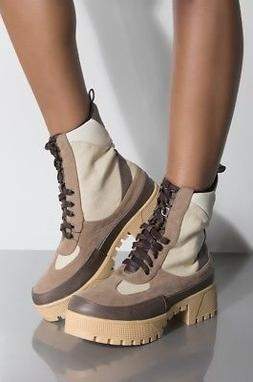 New Womens Lace Up Combat Military Ankle Booties Boot Med He