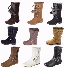 New Womens Military Combat Fashion Boots Mid knee Low Flat H