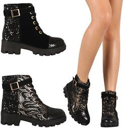 New Womens Sequin Round Toe Lace Up Combat Military Ankle Bo