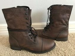 New STEVE MADDEN Women's Troopa Dark Brown Combat Leather
