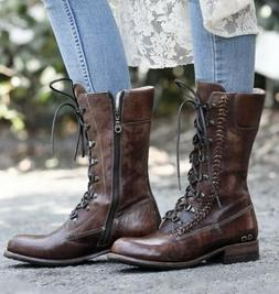 NIB Bed Stu Dundee Teak Driftwood Leather Combat Style Boots