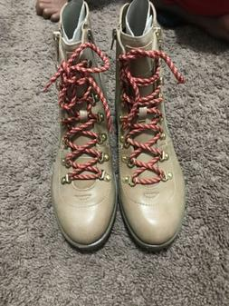 Guess Nora Tan Combat Boots Side Zip Ankle Lace Up Beige Nat