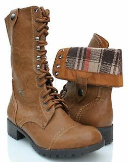 Soda Oralee Fold-over Combat Boots