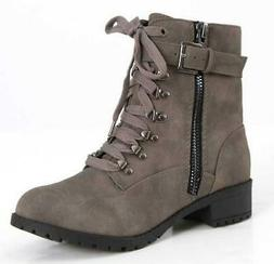 SODA OTHER-S Women's Combat Boots Gray Casual Zip Up Casual