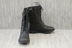 Top Moda Pack-72 Faux Leather Combat Boots, Women's Size 8,