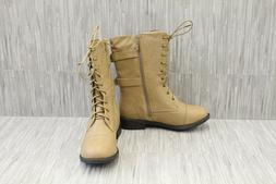 Top Moda Pack-72 Faux Leather Combat Boots, Women's Size 10,