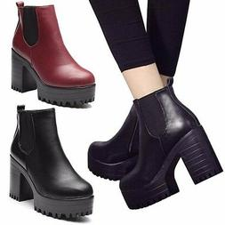 Punk Women Leather Ankle Boots Chelsea Chunky Platform Hidde