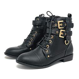 Top Moda Women's Rachel-6 Fashion Combat Lace Up Buckle Boot