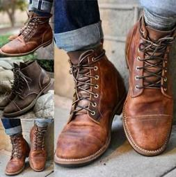 Retro Mens Leather Martin Boots Combat Lace Up Military Army