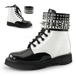 Demonia RIVAL-106 Women's White Vegan Leather Black Patent C