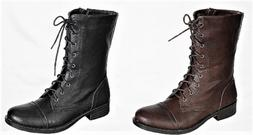 Sammy-08 Womens Mid Calf Lace Up Side Zipper Combat Military