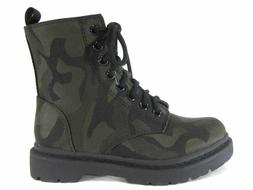 Soda Shoes Women's Grunge Camo Print Lace Up Military Combat