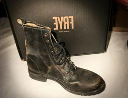 Size 9 Frye Veronica Combat Boots Distressed Black