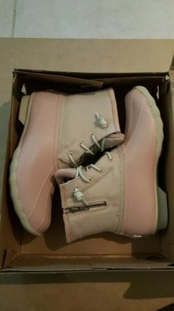 Sperry Embossed Saltwater Wool Rose Dust Duck Boots #STS8203