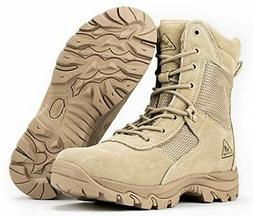 RYNO GEAR Tactical Combat Boots with Coolmax Lining, Beige,