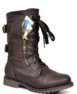 DREAM PAIRS Women's Terran Brown Mid Calf Built-in Wallet Po