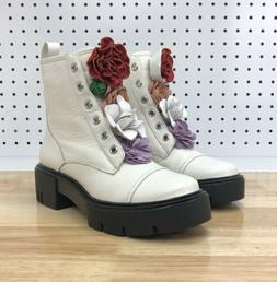 Katy Perry The Bliss Flower Combat Boots White Women's Sz