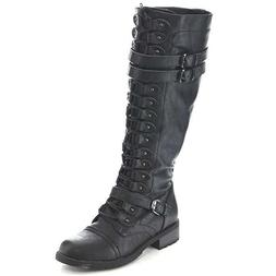 Wild Diva Timberly-65 Women's Fashion Lace up Buckle Knee Hi
