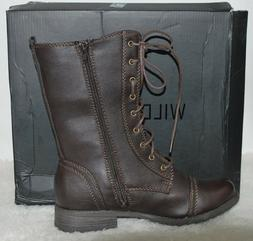 WILD DIVA LOUNGE ~ TIMBERLY ~ Brown Combat Boots ~NWB~ Size