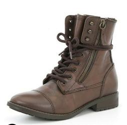 Steve Madden Toga Combat Moto Boots Brown Leather Size 7.5 N