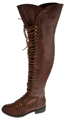 Travis 05 Women Military Lace Up Thigh High Combat Boot Brow