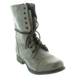 Steve Madden Women's Troopa Lace-Up Boot, Stone, 5.5 M US