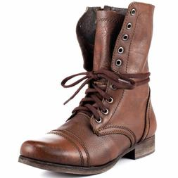 Steve Madden TROOPA Womens Brown Leather High Lace Up Combat