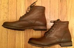 FRYE Tyler Lace Up Pebbled Leather Cognac Brown Ankle Combat