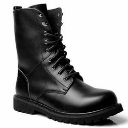 US Men Genuine Leather Combat Ankle Boots Lace up Military A