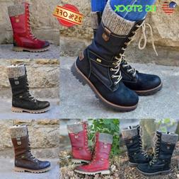 US Women Military Combat Lace Up Mid Calf Boots Zipper Casua
