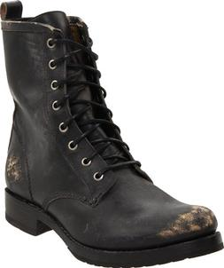 FRYE Women's Veronica Combat Boot, Black Stone Washed, 7.5 M
