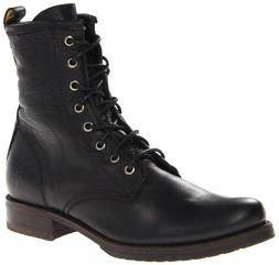 FRYE Women's Veronica Combat Boot, Black Soft Vintage Leathe