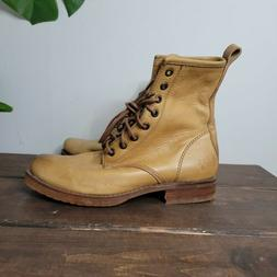Frye Veronica Combat Boots Camel Brown Womens Size 6 B