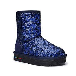 Women's Warm Sequined Snow Boots Thickened Plush Shoes  US W