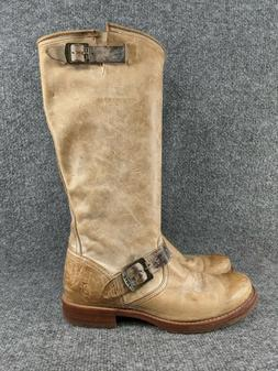 Frye Waxy Veronica Brown Leather Combat Pull On Engineer Boo