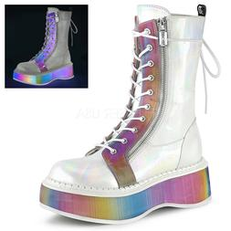 White Rainbow UV Combat Lace Up Rave EDC Dance Boots Demonia