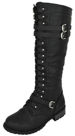 Wild Diva Women Knee High Combat Military Riding Lace Up Boo