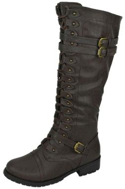 Wild Diva Women Knee High Combat Military Riding Lace Boots