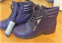 Winter Boots Woman's Sz 9 purple military combat boots exc