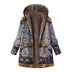 Ximandi Womens Winter Vintage Floral Print Hooded Warm Outwe