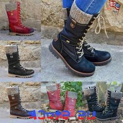 Winter Women Lace Up Mid Calf Boots Combat Booties Knit Flat