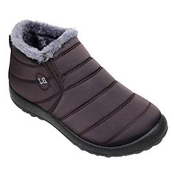 Mysky Winter Women Solid Color Keep Warm Ankle Boots Ladies