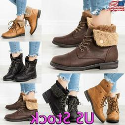 Winter Womens Lace Up Sweater Cuffed Boots Ankle Booties Fur