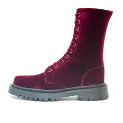 Woman vegan biker boots made of velvet bordeaux with laces o