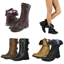 Women Faux Leather Combat Ankle Boots Lace up Military Army