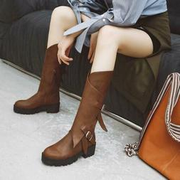 Women Buckle Round Toe Combat Military Mid Calf Boots Outdoo