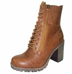 Soda Women Chunky High Heel Combat Army Military Riding Boot