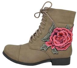 Soda Women Combat Army Motorcycle Riding Boots Floral Flower