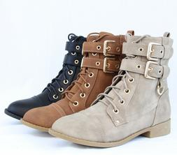 Women Fashion Ankle Booties Golden Buckle Combat Boots Sexy