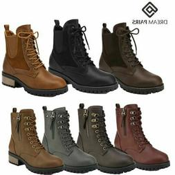 DREAM PAIRS Women Lace Up Ankle  Boots Flat Low Heel Militar